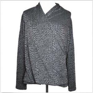 Talbots Faux Wrap Textured Knit Shirt XL Gray